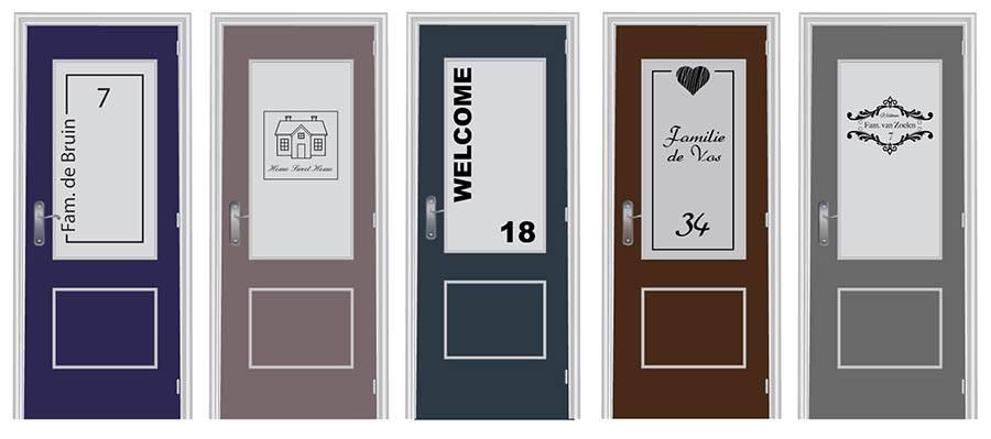 raamfolie voordeur met huisnummer of naam