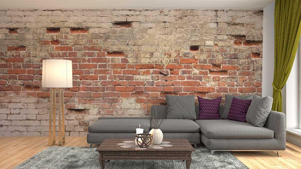 Fotobehang Muren Fotobehang Gebroken Oude Bakstenen Muur