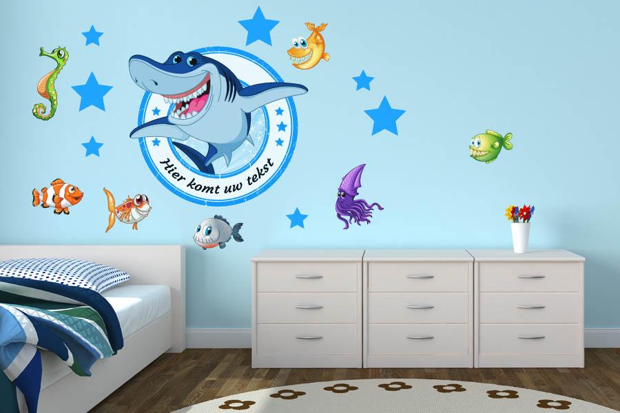Behang Kinderkamer Vissen : Muurstickers kinderkamer: muursticker haai en vissen