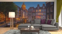Woonkamer fotobehang Amsterdam at night