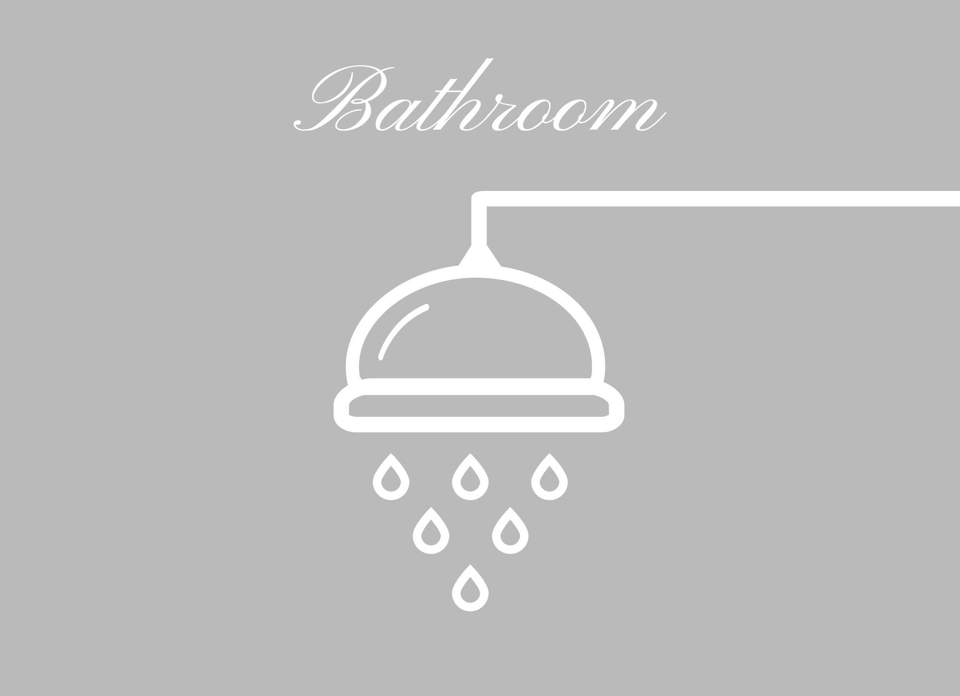 Badkamer en douche: Raamfolie douchekop en tekst bathroom