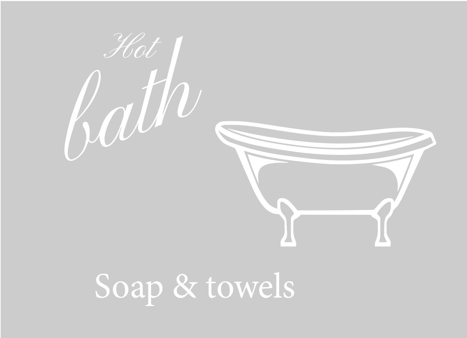 Badkamer en douche: Raamfolie douche met bad en tekst
