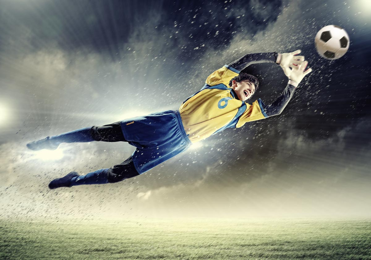 Behang Kinderkamer Voetbal : Voetbal: fotobehang voetbal keeper